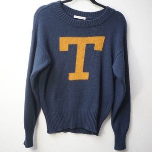 """Townsen """"T"""" Knit Sweater Blue and Gold Size M"""